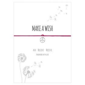 Armband Make a wish in der Farbe pink mit einem Peace Zeichen als Anhänger in Sterling Silber