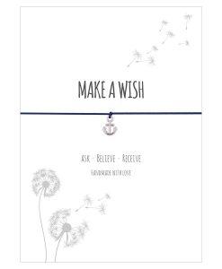 Armband Make a wish in der Farbe schwarz mit einem Anker als Anhänger in silber