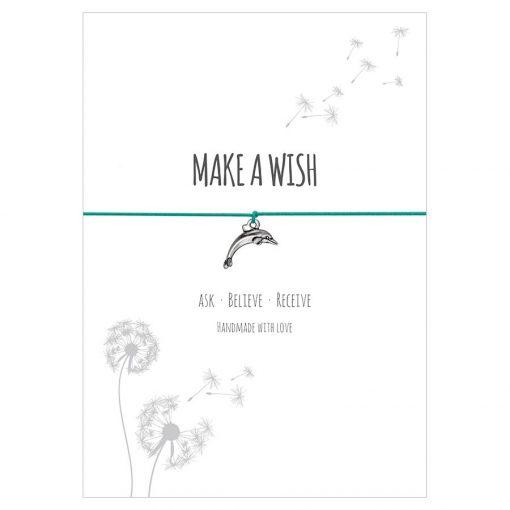 Armband Make a wish in den Farben schwarz, türkis, rot und hellblau mit einem Delfin als Anhänger in silber