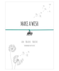 Armband Make a wish in der Farbe türkis mit einem Elefant als Anhänger in silber