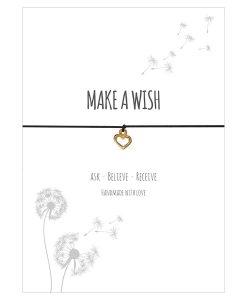 Armband Make a wish in der Farbe schwarz mit einem Herz Anhänger in gold