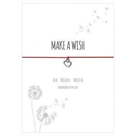 Armband Make a wish in der Farbe rot mit einem Herz Anhänger in silber