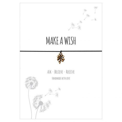 Armband Make a wish in der Farbe schwarz mit einem Klee Anhänger in gold