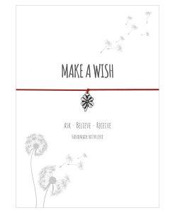 Armband Make a wish in der Farbe rot mit einem Klee Anhänger in Silber