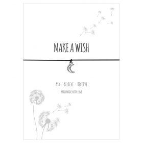 Armband Make a wish in den Farben schwarz und türkis mit einem Mond Anhänger in silber
