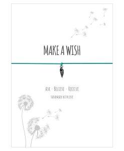 Armband Make a wish in der Farbe türkis mit einer Muschel als Anhänger in silber