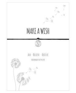 Armband Make a wish in der Farbe schwarz mit einem Om Zeichen als Anhänger in Sterling Silber