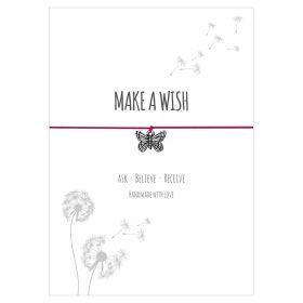 Armband Make a wish in den Farben pink und türkis mit einem Schmetterling Anhänger in silber