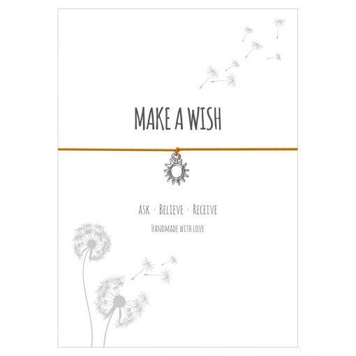 Armband Make a wish in der Farbe sonnengelb mit einer Sonne als Anhänger in silber
