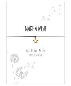 Armband Make a wish in der Farbe schwarz mit einem Stern Anhänger in gold