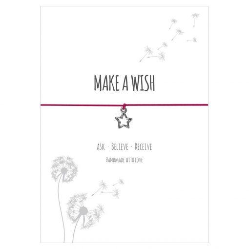 Armband Make a wish in der Farbe pink mit einem Stern Anhänger in silber