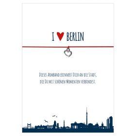 Armband I love Berlin in den Farben schwarz und rot mit einem Herz in silber als Anhänger