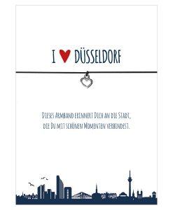 Armband I love Düsseldorf in den Farben schwarz und rot mit einem Herz in silber als Anhänger