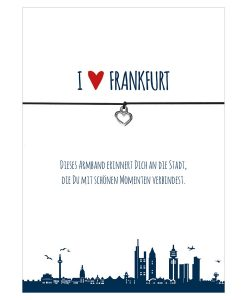 Armband I love Frankfurt in den Farben schwarz und rot mit einem Herz in silber als Anhänger