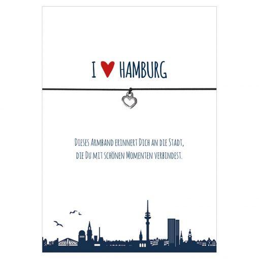 Armband I love Hamburg in den Farben schwarz und rot mit einem Herz oder Anker in silber als Anhänger