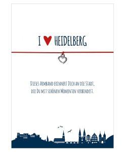 Armband I love Heidelberg in den Farben schwarz und rot mit einem Herz in silber als Anhänger