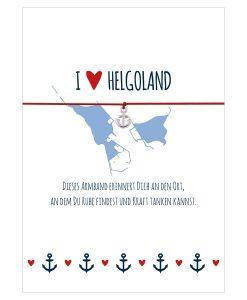 Armband I love Helgoland in den Farben mitternachtsblau und rot mit einem Anker in silber als Anhänger
