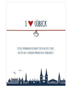 Armband I love Lübeck in den Farben schwarz und rot mit einem Herz in silber als Anhänger