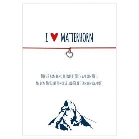 Armband I love Matterhorn in den Farben schwarz und rot mit einem Herz in silber als Anhänger