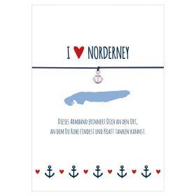 Armband I love Norderney in den Farben mitternachtsblau und rot mit einem Anker in silber als Anhänger