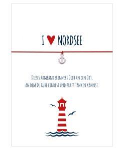Armband I love Nordsee in den Farben mitternachtsblau und rot mit einem Anker in silber als Anhänger