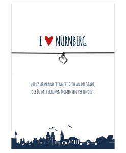 Armband I love Nürnberg in den Farben schwarz und rot mit einem Herz in silber als Anhänger