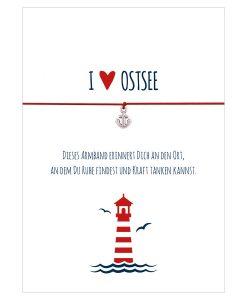 Armband I love Ostsee in den Farben mitternachtsblau und rot mit einem Anker in silber als Anhänger