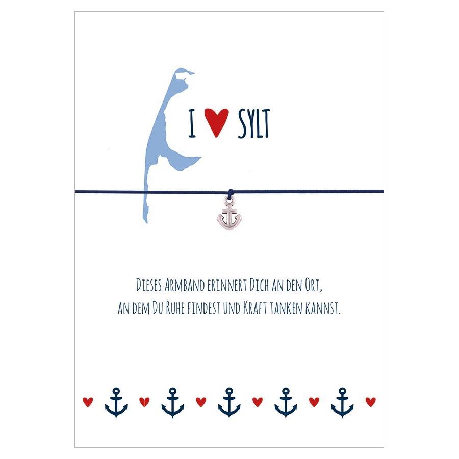 Armband I love Sylt in den Farben mitternachtsblau und rot mit einem Anker in silber als Anhänger