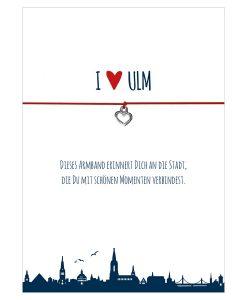 Armband I love Ulm in den Farben schwarz und rot mit einem Herz in silber als Anhänger