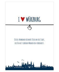 Armband I love Würzburg in den Farben schwarz und rot mit einem Herz in silber als Anhänger