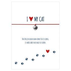 Armband I love my cat in den Farben schwarz und rot mit einem Herz mit Tatze als Anhänger in silber