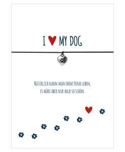 Armband I love my dog in den Farben schwarz und rot mit einem Herz mit Tatze als Anhänger in silber