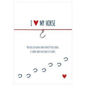 Armband I love my horse in den Farben schwarz und rot mit einem Herz mit Tatze als Anhänger in silber