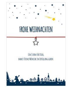 Armband Frohe Weihnachten mit Motiv Sternschnuppe in der Farbe rot mit einem Stern Anhänger in silber