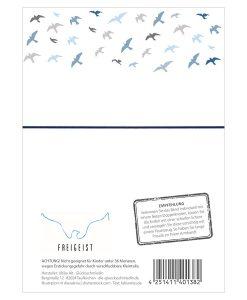 Rückseite Armband Freigeist mit Empfehlung und fliegenden Vögeln