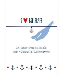 Armband I love Bielersee in den Farben mitternachtsblau und rot mit einem Anker in silber als Anhänger