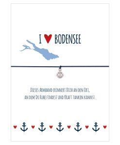 Armband I love Bodensee in den Farben mitternachtsblau und rot mit einem Anker in silber als Anhänger