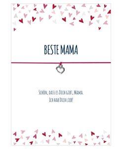 Armband Beste Mama in den Farben schwarz und pink mit einem Herz Anhänger in silber