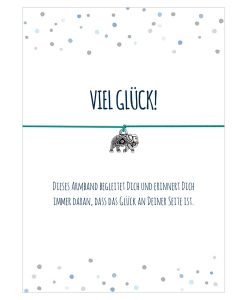 Armband Viel Glück! in den Farben schwarz und türkis mit einem Elefant in silber