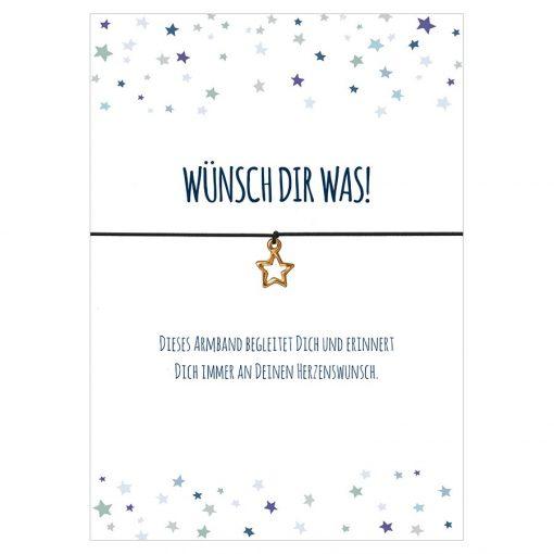 Armband Wünsch dir was! in der Farbe schwarz mit einem Stern Anhänger in gold