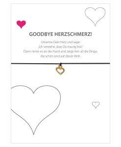 Armband Goodbye Herzschmerz in der Farbe schwarz mit einem Herz als Anhänger in gold