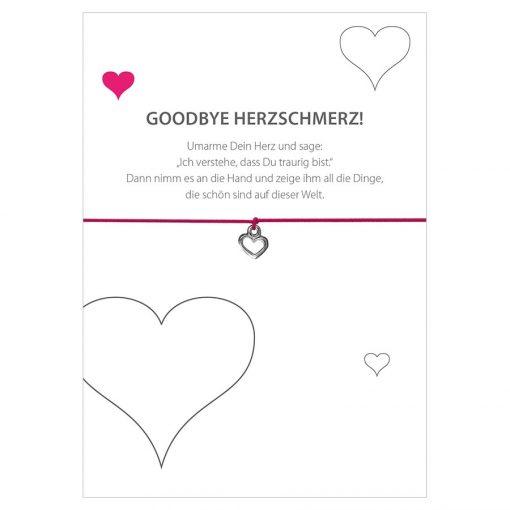 Armband Goodbye Herzschmerz in der Farbe pink mit einem Herz als Anhänger in silber