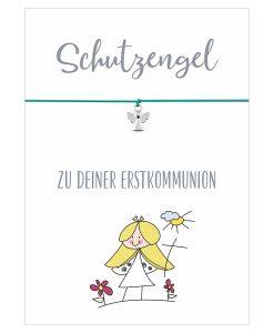 Armband Schutzengel zu deiner Erstkommunion in den Farben pink und türkis mit einem Engel Anhänger in silber