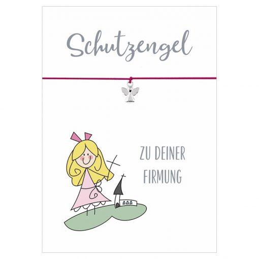 Armband Schutzengel zu deiner Firmung in den Farben schwarz und pink mit einem Engel Anhänger in silber