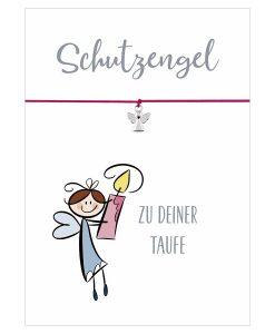 Armband Schutzengel zu deiner Taufe in den Farben pink, rosa und hellblau mit einem Engel Anhänger in silber