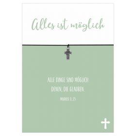 Armband Alles ist möglich in den Farben schwarz, pink und türkis mit einem Kreuz als Anhänger in silber