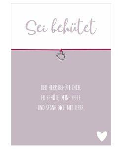 Armband Sei behütet in den Farben schwarz und pink mit einem Herz Anhänger in silber