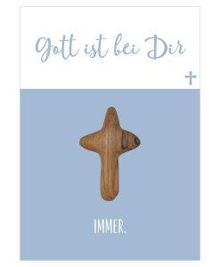 Handschmeichler Gott ist bei dir mit einem Kreuz aus Holz der Olive