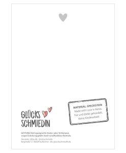 Rückseite der Karte von Handschmeichler Von Herzen mit Empfehlung und einem Herz