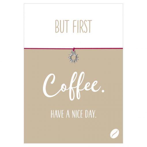 Armband Coffee First in den Farben schwarz und pink mit einer Sonne als Anhänger in silber